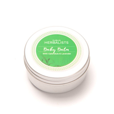 Baby Balm in a 50ml silver tin with green and white Dublin Herbalist label