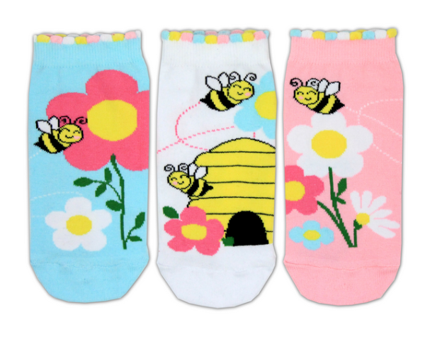 Bee design shoe liners, first sock is baby blue with a pink and yellow flower and a happy little bee, second sock is white with a yellow bee hive and 2 bees, third sock is pink with white and dark pink flowers and a happy bee