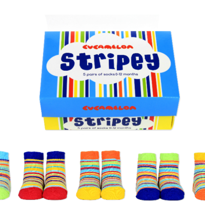 5 pairs of colourful stripey baby socks