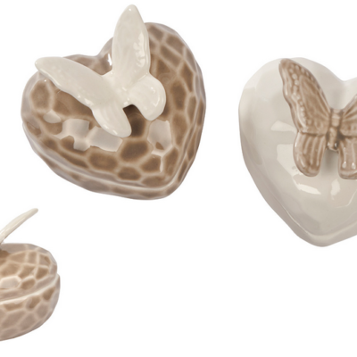 butterfly trinkets, cream and fawn colours