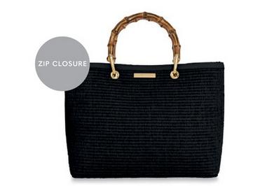Callie Black handbag with bamboo handles