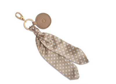 Taupe and cream polka dot handbag scarf charm