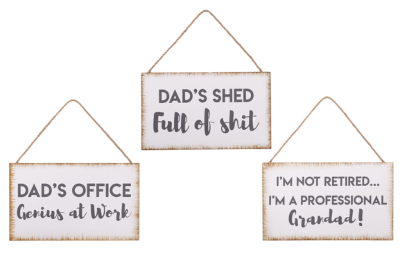 Dad plaques with hanging loop