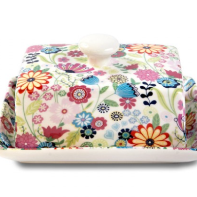 Shannonbridge white pottery Butter Dish. Ditsy Flower designs of blue, pink and raspberry flowers.