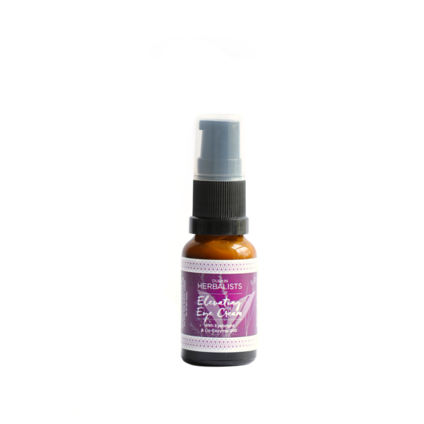 Elevating eye cream in a brown pump bottle with Dublin Herbalist purple and white label