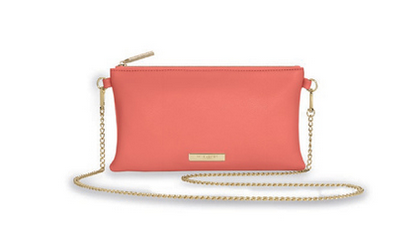 Coral crossover handbag with gold linked chain