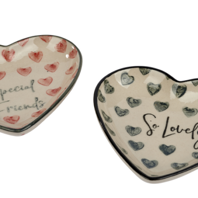 Friendship heart shaped dishes. Special Friends and So Lovely