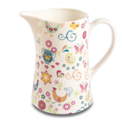 Shannonbridge white pottery milk jug with beautiful pastel funkey hen design. Each bottle includes a cork. Funkey Hen design includes Teal and Pastel flowers, hen and hearts. Capacity 1 Ltr