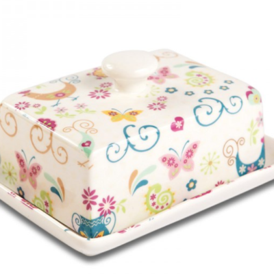 Shannonbridge Pottery The Funkey Hen Butter Dish. Beautiful pastel colours on a white base butter dish