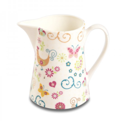 Shannonbridge Pottery The Funkey Hen half pint jug. Beautiful pastel colours on a white base with hen, butterflies and heart designs.