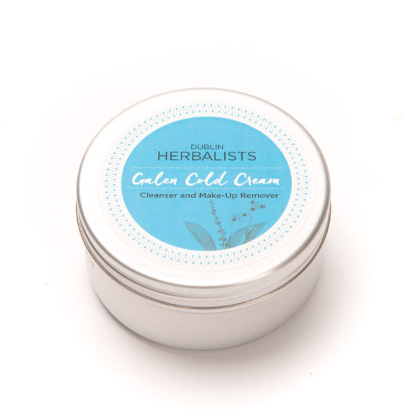 Galen Cold Cream in a silver tin with Dublin Herbalist blue and white label