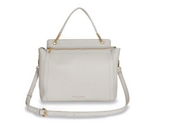 grey harlowe handbag with clutch handle and long grey strap