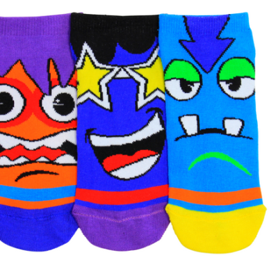 kids shoe liners. 3 vibrant socks with colourful masher faces. First is a orange face with purple hair and blue stripes, second is a belue face with black hair and yellow star eyes and third is a blue face with navy hair, orange stripes and green eyes