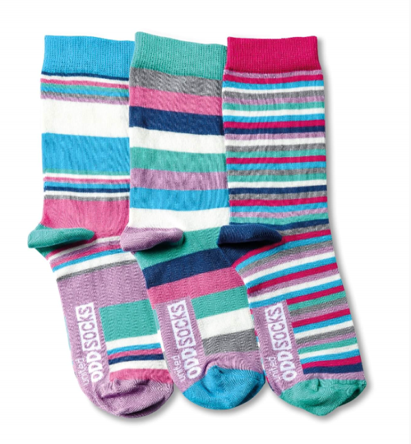 3 pack of odd socks vibrant colourful stripes