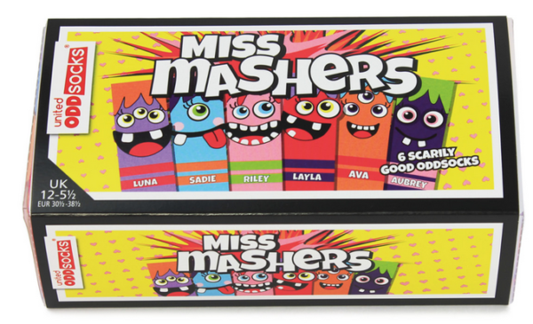 colourful box of 6 mix and match socks. Each sock features a different masher personality all a range of colours - purple and orange, blue and orange, pink and gree, red and purple, orange and red and purple and green
