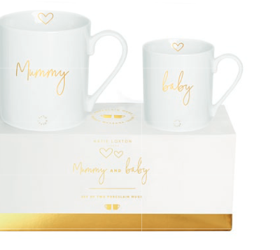 white mommy and baby mug set with mummy and baby in gold writting. Includes a white and gold presentation box