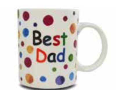 Shannonbridge Pottery colourful polkadot mug with best dad written in coloured letters