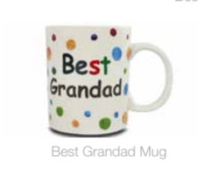 Shannonbridge Pottery colourful polkadot mug with best grandad written in colourful writting
