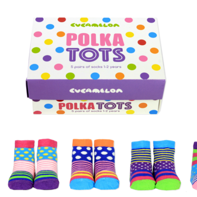 polka tots colourful boxed sock set