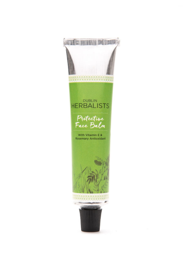 Protective face balm in a silver tube with green Dublin Herbalist label