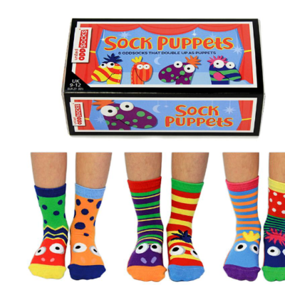 sock puppets each different colours doubling as hand puppets