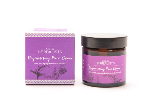 Regenerating Face Cream in a brown tub. Dublin Herbalist Purple and white label with purple and white box