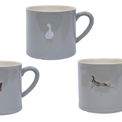 Stoneware mug with duck, hen and hare