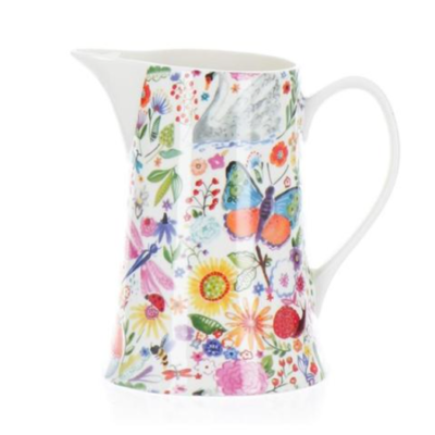 Shannonbridge white pottery milk jug with beautiful colourful Swan Garden design. Each bottle includes a cork. Swan Garden designs of dragonflies, butterflies, birds and coloured flowers make a stunning addition to the kitchen Capacity 1 pint