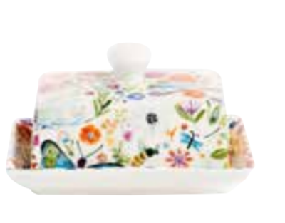 annonbridge White Pottery Swan Garden Butter Dish. Beautiful pastel colours on a white base with Swan Garden designs of dragonflies, butterflies, birds and coloured flowers