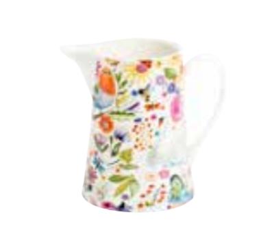 Shannonbridge white pottery half pint Jug with swan graden design of of dragonflies, butterflies, birds and coloured flowers