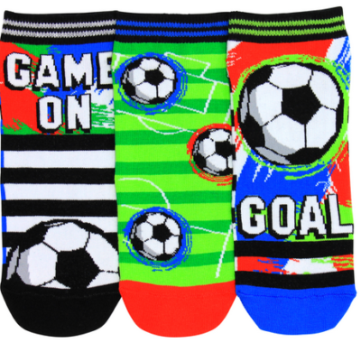 "Soccer themed ankle style socks. Featuring one sock with black and white stripes, a football and ""game on"", second sock is light and dark green striped with 3 footballs and the third sock is blue, black and red stripes with a football and ""goal"" written in white"