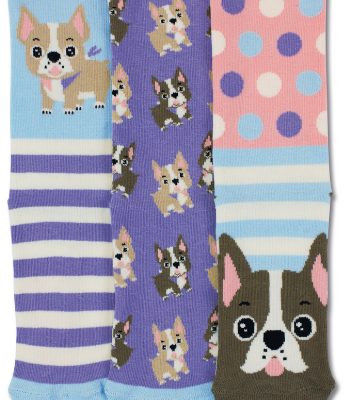 3 off socks each with pink, purple and blue stripes, dogs and also featuring a small dog on each in fawn and brown colouring