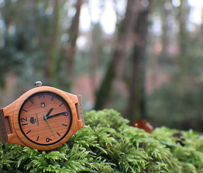 Yew Wooden face Rustech Wood Watch with brown leather strap and black clock features