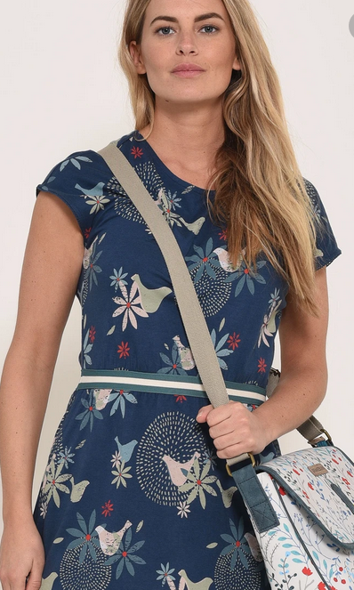 Brakeburn dove dress with navy base colour and olive green, cream and blue details