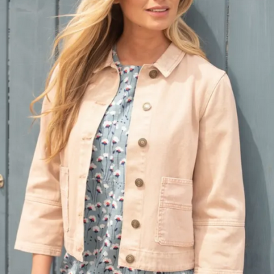 Dusky pink cropped jacket, with button detail