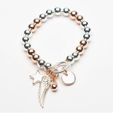 Contrast Rose & Silver metal beaded bracelet with Star, Angel wing, Teardrop and disc charms