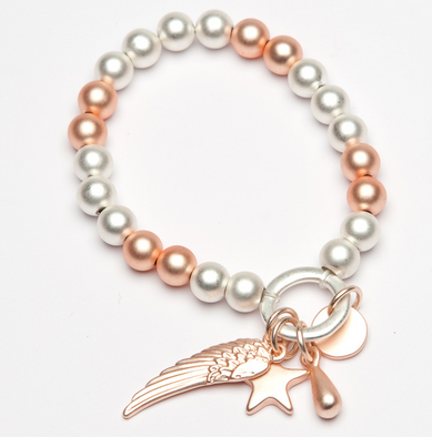 matt rose and matt silver effect stretching braclet with charms