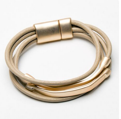 Matt Gold and Taupe Leather multi strand bracelet with twin bar decoration