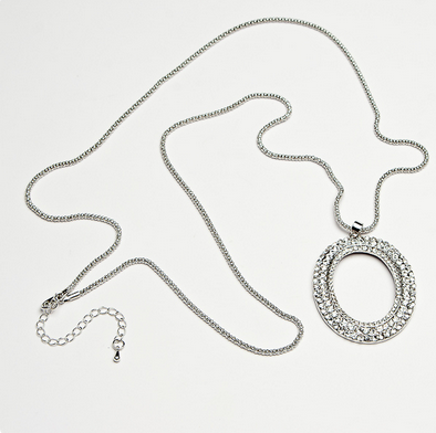 crystal encrusted oval on a long chain