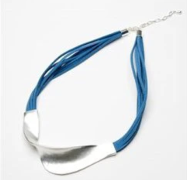 Multi stranded short blue suede necklace with twisted bar detail