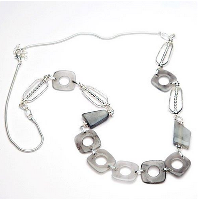Beautiful resin and metal beaded necklace, mixture of greys