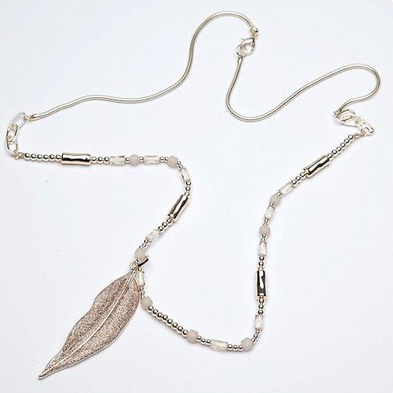 Gold and beige leaf pendant on long beaded chain