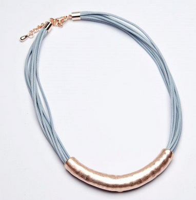 Short multi strand waxed cord necklace with contrast brushed effect bar detail