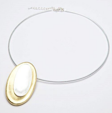 Torc necklace with gold and silver stacked ovals