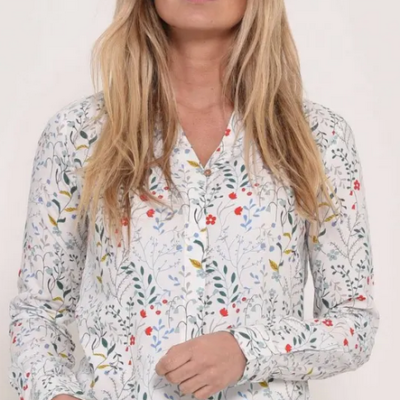 brakeburn white blouse with meadow flowers in red, yellow, blue and green