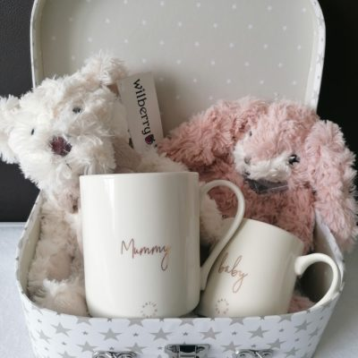 Silver and white star suitcase containing wilberry classic cream teddy bear, wilberry pink bunny and katie loxton mummy and baby mug set