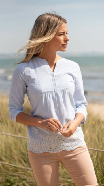brakeburn scalled hem blouse, Navy and white stripped details and white scalled edging