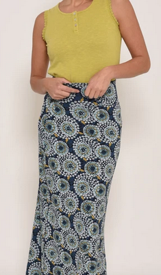 brakeburn apple maxi skirt, navy base colour with light blue and white florals