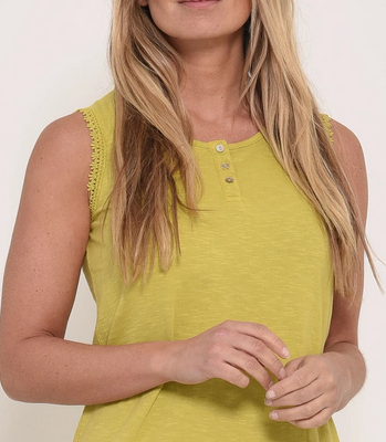 lime green sleeveless vest top with lace detail at the bottom