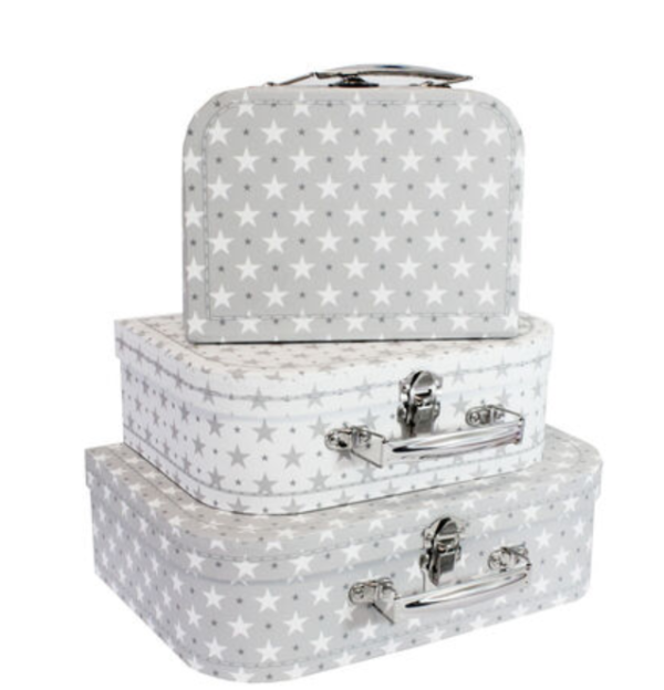 small, medium and large suitcases stacked. Grey and white star options